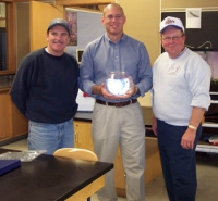 "Mark Wilson, Kevin Powell and Bob Filbrandt kicking off the first ""Salmon in the Schools"" program in 2007."